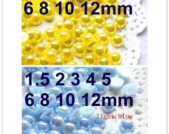 1.5-12mm Resin flatback AB pearl  flat back half pearl free shipping
