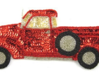 "Classic Truck Applique, Sequin Beaded, 8"" x 3.5"" -2973-B200-0221"