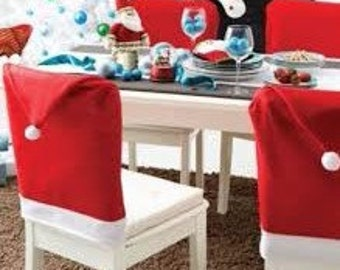 SALE & FREE SHIPPING! Christmas house Santa's hat chair cover holiday home decor