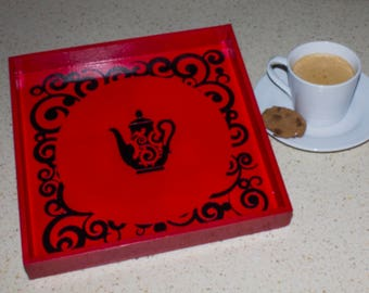 Red Tea Tray