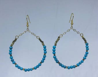 Turquoise and Brass Hoops