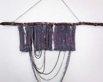 Greyscale Handwoven Shag Tapestry ∇ Wool and Cotton Wall Hanging