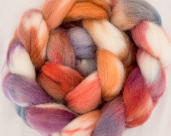 Hand dyed Shetland combed top, hand dyed roving, Shetland roving, Handspinning, felting projects, spindling wool, felting materials