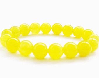 Yellow Jade Bracelet, 10mm Jade Bracelet, Yellow Bracelet, Bead Bracelet Women, Stretch Bracelet, Yellow Jewelry Gift, Gift Ideas for Women