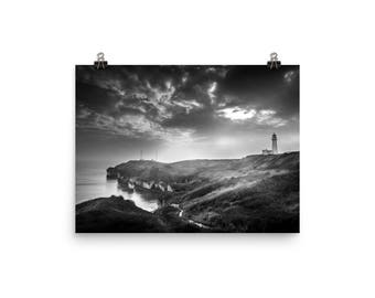 Lighthouse At Night On The Ocean Black And White Photo Image Download