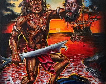 Death of Magellan Original Acrylic Painting