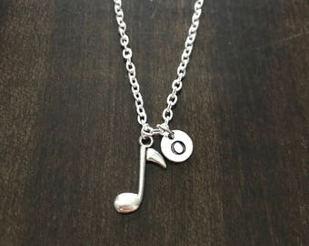 music note initial necklace ,music note necklace, Jewelry, Silver Jewelry,gift for musician CP189