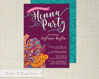 Mehndi Party Invites : Henna party invite etsy