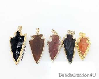 Jasper Arrowhead Pendant with 24k Gold Electroplated Layered Edge, Gold Arrowhead Pendant