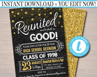 Editable Class Reunion Invitation Template - Any Year!  College Reunion, High School Reunion Party Lights Faux chalkboard  INSTANT DOWNLOAD