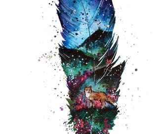 A3 Feather Fox Print