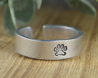 Paw Print Ring- Hand Stamped Aluminum Ring -Any Size 4, 5, 6, 7, 8, 9, 10, 11, 12 half and quarter sizes available