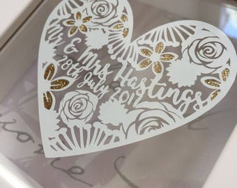 Bride & Groom Wedding Gift, Personalised wedding Art