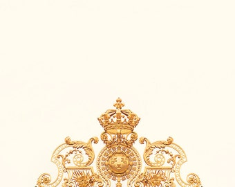 versailles print, paris photography, golden gate, france, french home decor, gold, Château de Versailles, crown, gilded / golden gate