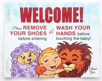 """8"""" x 10"""" Remove Your Shoes and Wash Your Hands Welcome Sign for New Baby Visitors - Peace Baby with Lamb and Lion"""