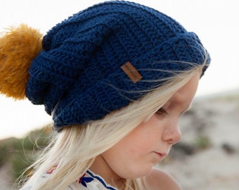 Seedling Slouch • Cotton slouch crochet beanie with mohair pom pom for kids or adults (winter hat)