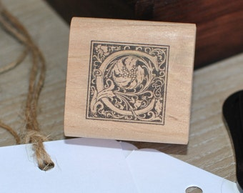 Letter C Rubber Stamp, Monogram C stamp, Wood Mounted Rubber Stamp, Alphabet letter C stamp