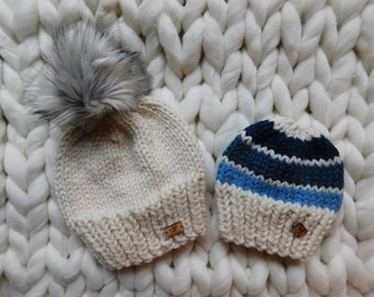 mommy and Me hats. Mom and Son matching hats. Hat with pom pom. Ready to ship hats.