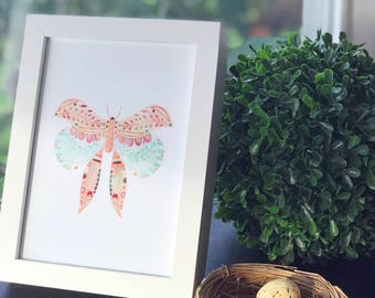 Moth 2 - Art Print, Original Illustration - Limited Edition Giclee Print (5 x 7in)