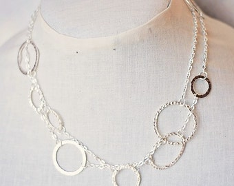 Handmade Long Silver Necklace Silver Chain Necklace Silver Hammered Rounds Necklace Silver Hammered Ovals Necklace Silver Link Necklace