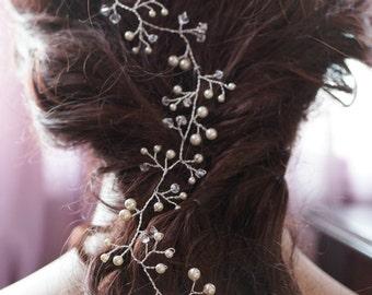 Bridal hair vines, Silver wire vines, Swarovski cream white ivory pearls, Bridal hair accessories, Hair vine tiaras, Delicate Headpiece
