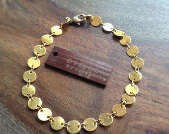 Gold bracelet, gold chain bracelet, simple gold bracelet, gold coin bracelet, gold stacking bracelet, layering bracelet, minimalist bracelet