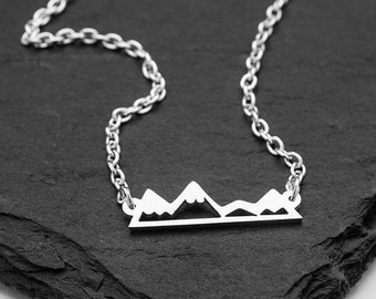 Mountain Necklace - Snow Capped Mountain Necklace - Silver Mountain Hiker Necklace - Mountain Climber Necklace - Start Your Journey