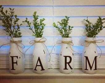 Farm milk jar decor