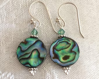 Abalone Earrings - Shell Jewelry - short earrings - Mothers Day Gift - Round Circles