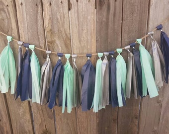 Navy Mint and Silver tassel garland, mint tassel garland, first birthday, birthday party, dorm room decor, baby shower, nursery decor