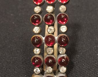 1920's Art DECO Dress Clip, with Ruby RED CABACHON  Rhinestones, Deco Brooch