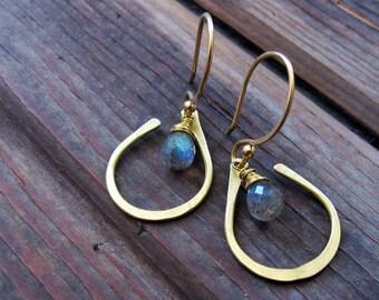 Seed Petal - Brass Stone Earrings - Labradorite Earrings - Blue Grey Stone Earrings - Bridal Earrings - Lightweight Jewelry