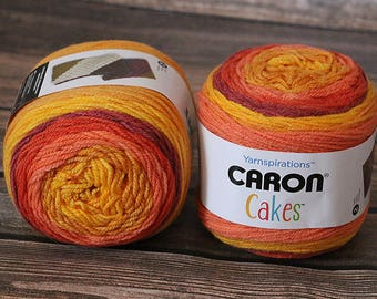 Caron Cakes Yarn - Pumpkin Spice - NEW Color - Wool Blend Yarn - Self-striping yarn - Michael's exclusive yarn - Skein of Caron Cake Yarn