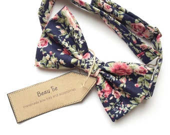 mens bow tie floral, navy blue bow tie, blush pink bow tie, floral bow tie, wedding bow tie
