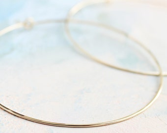 """Thin Gold Hoops, Extra Large Hoop Earrings 2.5"""", gold earrings, large gold hoops, gold circle earrings"""