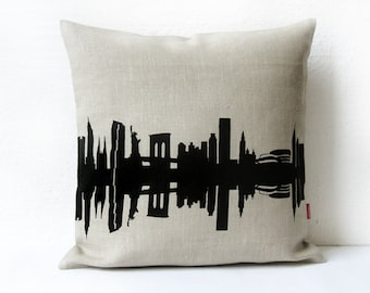 Linen NEW YORK Throw Pillow, Linen Cushion Cover, NYC nostalgia, New York home decor, New York Gift, birthday anniversary, wedding pillow