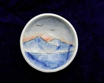 Tiny Landscape Dish,  Ring Dish, Hand Made Ceramic Key Holder, Wedding Ring Bearer,Tea Bag Dish, Tea Light Plate, Wasabi Dish