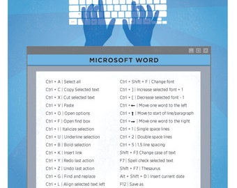 "Microsoft Word Mac Keyboard Shortcut Printable Poster 8.5""x11"""