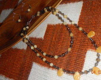 Two-strand Smokey Gray Faceted Glass Beaded/Yellow Semi-precious Stone Necklace/Matching Earrings