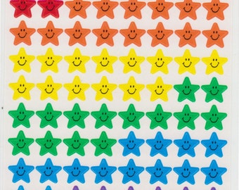 Rainbow Star Stickers - Smiley Face Stickers - Reference A1036