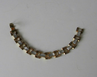 Vintage damascene faux mother of pearl pattern bracelet