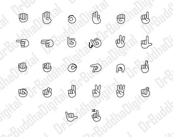 American Sign Language SVG Collection - Sign Language DXF - ASL Clipart - Svg Files for Silhouette Cameo or Cricut