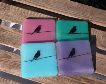 Fused Glass Bird on a wire Coasters