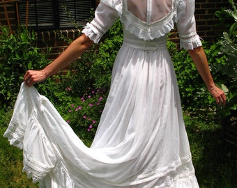 60s Boho Wedding Dress * Prairie Wedding Dress * Gyspy Wedding Dress * Sheer Cotton Voile * Lace Wedding Dress * White Bridal Dress