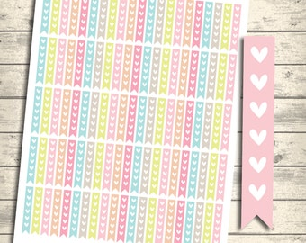 Checklist Flags, Heart Flags, To Do List, Erin condren Printable Planner Stickers, Instant Download, Eclp Heart Checklist Flags