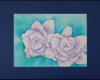 Gardina watercolor print.  11x14 matted