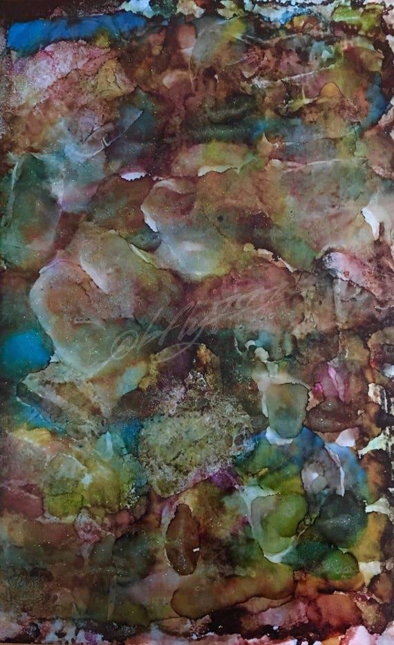 "Original Alcohol Ink Abstract: ""Rock Solid Fantasies"" (23 x 35"")"