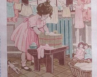 Child Washing Doll Clothes Handpainted Needlepoint No. 16 Canvas Theodora JWS