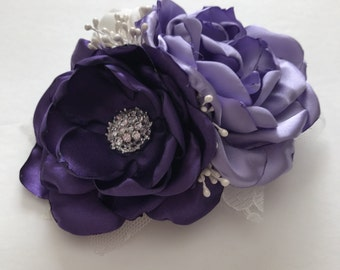 Shades of Purple Large Hair Clip - Dark Purple, Light Purple and Ivory - Flower Clip, Rose Clip, Bridal Hair Clip, Bridesmaid, Flowergirl