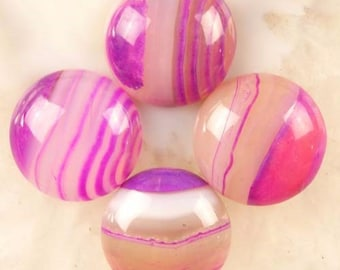 20mm / Bubble Gum Pink/ and Purple/ Stripes Agate/ 20mm Gemstone Cabochon/    Set of Four Cabochons